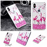 Cozy Hut iPhone X/iPhone XS Hülle,iPhone X/iPhone XS Silikon Schutzhülle Ultra Dünn Weiche Stoßfest Rutschfest TPU Bumper Backcover Case für iPhone X/iPhone XS - Kirschblüten Flamingo