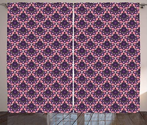ABAKUHAUS Blumen Rustikaler Gardine, Rokoko-Mandala-Stil, Schlafzimmer Kräuselband Vorhang mit...