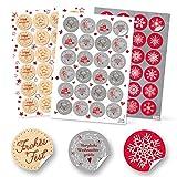 SET 3 x 24 rot grau weiß natur Weihnachtsaufkleber Aufkleber FROHE WEIHNACHTEN FROHES FEST + SCHNEEFLOCKE Verpackung Geschenkaufkleber vintage rund 4 cm Deko weihnachtlich Geschenkverpackung