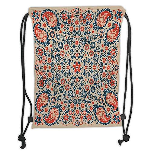 Juzijiang Drawstring Sack Backpacks Bags,Paisley Decor,Arabesque Floral Ornate Pattern Cultural Folk Persian Middle Eastern Print,Red Beige Blue Soft Satin Clos,5 Liter Capacity,Adjustable. -