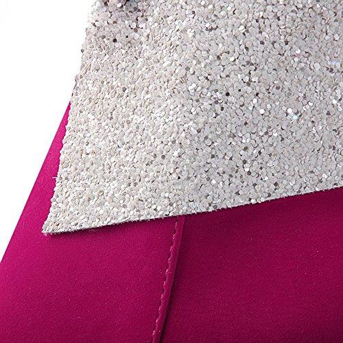VogueZone009 Damen Hoher Absatz Knöchel Hohe Rein Reißverschluss Stiefel mit Schleife Rosa