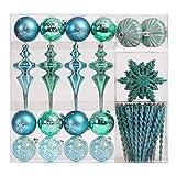 Valery Madelyn 60tlg. 6-15cm Winter Wünsche Blau Grün Silber Weiße bruchsicher Weihnachtskugeln Weihnachtsbaumschmuck Dekorationen, inkl. 60 Stücke Metallhaken