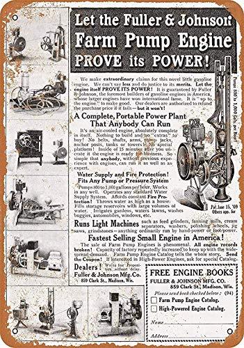 Toddrick Fuller & Johnson Farm Pump Engine Tin Chic Sign Vintage Style Retro Kitchen Bar Pub Coffee Shop Décor 8