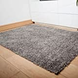 Soft Touch Shaggy Silver Thick Luxurious Soft 5cm Dense Pile Rug. Available in 7 Sizes (160cm x 220cm) by Rugs Supermarket