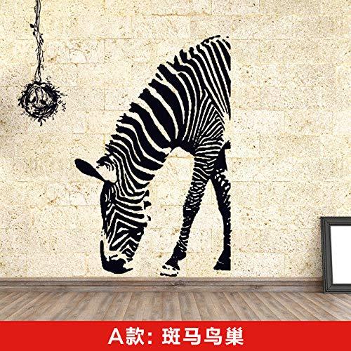ZRDMN Wandaufkleber Wandhalterung Wand Wand Papier Aufkleber Dekor, Zebra Das Nest des Vogels kann Kunst Wandbilder für Schlafzimmer Wohnzimmer Büro Familie Kindergarten Badezimmer Küche entfernen (Türkis Zebra-wand-dekor Und)