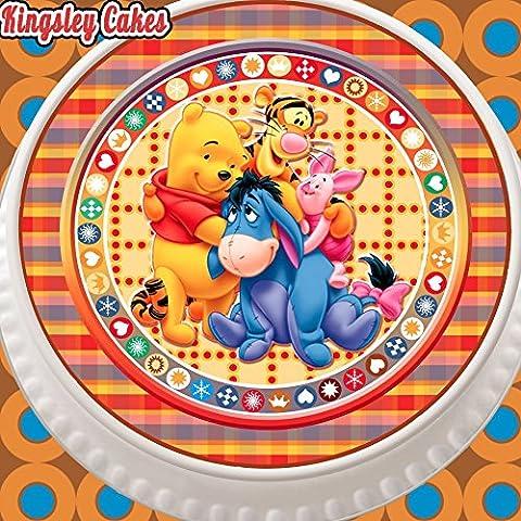 prédécoupée glaçage comestible pour gâteau–Rond 19,1cm Winnie l'ourson et ses amis