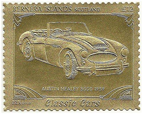 Timbro Classic car in lamina d'oro 22k emesso nel 1996 Islands Bernara , Scozia / Mint e smontato