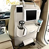#9: Pivalo PU Leather Car Auto Seat Back Multi Pocket Organizer with iPad mini Holder Backseat Organizer Hanger Accessory Universal Use as Car for Magazines, Toys, Magazines,Tissue Box, Storage Bottles (Beige - Pack of 1)