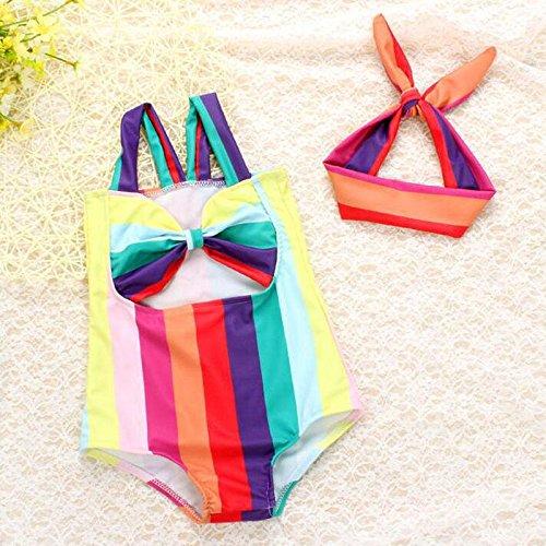 zooarts Sommer Kid Baby Mädchen Regenbogen gestreift Bademode einem Stück Haarband Badeanzug Badeanzug, multi, 110 (4T) (2 4t Stück Badeanzug)