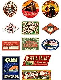 Style vintage de voyage valise bagages étiquettes Lot de 12 stickers muraux en vinyle Lot 2 de 4