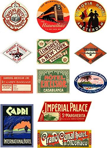 Vintage Stil Reise Koffer Gepäck Etiketten Set von 12Vinyl Aufkleber Set 2 (Vintage Luggage Label)