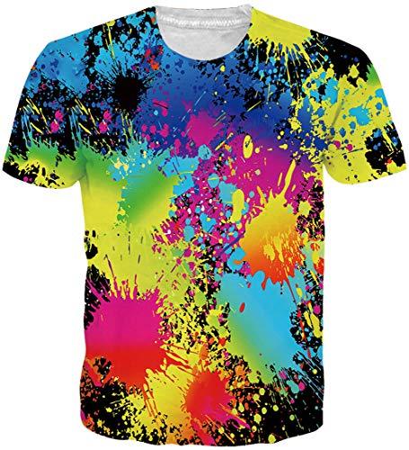 Loveternal Tie Dye T-Shirt Sommer Herren Bunt 3D Druck Faultier T-Shirt Casual Kurzarm Tops Tees XL