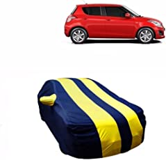 MotRoX Sporty Yellow Stripe Car Body Cover for Maruti Suzuki Swift (Water Resistant and Triple Stiched-GN)
