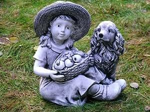 """Sitzende M""""dchen mit Obstkorb und Hund Grau 32 cm ca. 11 kg Stein Nr.194"""