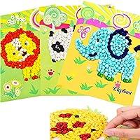 Quemu Co.,Ltd. Kids Tissue Paper Sticker Art Kit DIY Paper Crafts for Kids Children Kindergarten Educational DIY Learning Crafts Toys Gifts(12 Pack)