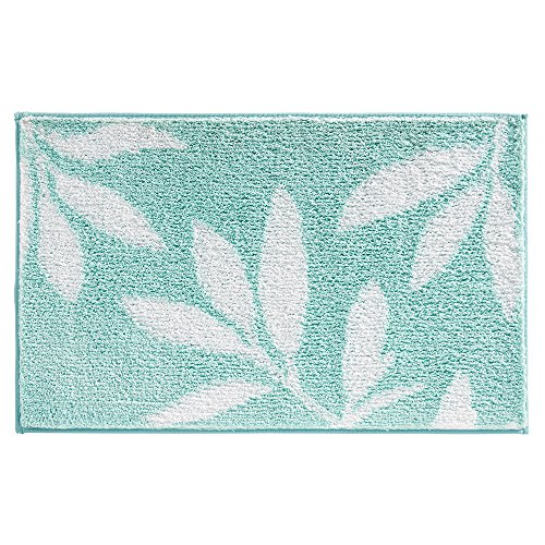 iDesign 17417EU Leaves Teppich, 86,25 x 53,25 cm, mint / weiß