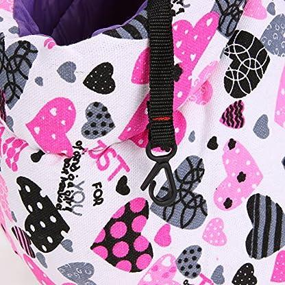 Pet Handbag Dog Canvas Carrier Bag Foldable Washable Travel Carrying Shoulder Bag for Small Medium Pets (S, White) 3
