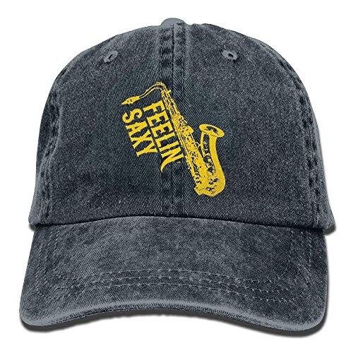 hat pillow Feelin Saxy Funny Saxophone Vintage Adjustable Cowboy Hat Trucker Cap ForAdult (Red Newsboy Cap)