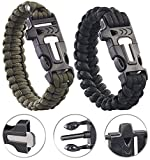 Semptec Urban Survival Technology Paracord Armband: 2er-Set Survival-Armbänder mit Seil, Pfeife, Feuerstahl und Messer (Outdoormesser)