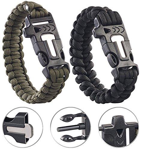 Semptec Urban Survival Technology Outdoor Armband: 2er-Set Survival-Armbänder mit Seil, Pfeife, Feuerstahl und Messer (Paracord Armband)