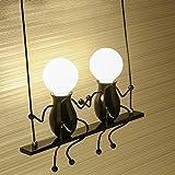 Modern Klassisch Creative doppeltem Design Deluxe LED Schwingen Wandleuchte Edison Wandlampe Innen minimalistische Metall Anhänger Einstellbar Wandbeleuchtung 2*E27 max. 40 Watt , Schwarz