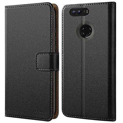 Honor 8 Hülle, HOOMIL Leder Tasche Huawei Honor 8 Handyhülle [Schwarz] Flip Case Brieftasche Etui Schutzhülle für Honor 8 Smartphone (5,2 Zoll) - Black (H3013) (Smartphone Leder Etui)