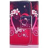 tinxi® Kunstleder Tasche für Samsung Galaxy Core 4G LTE SM-G386F Tasche Schutz Hülle Schale Etui Case Cover Standfunktion mit Karten Slot Rotes Herz
