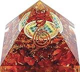Orgonite Pirámide con flor de vida, cornalina (atrae enormemente la suerte.).