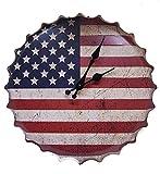 Orologio da muro americano Flag Bottle Cap Orologio da parete in metallo - Rosso - Bianco - Blu da Haysoms