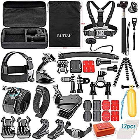 RUITAI Accessories Bundle Kit for GoPro Hero 4 3+3 2 1 Black Silver and SJ400 SJ500 SJ600 Accessory Kit ,Sports Camera Accessory in Swimming Rowing Surfing Skiing Climbing Running Bike Riding Camping Diving any other Outdoor Sports