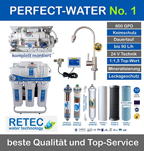 Osmoseanlage 600 GPD Perfect Water No. 1 Ultimate Plus PRO 2018 Direct Flow kein Tank nötig Umkehrosmosewasserfilter Wasserfilter Trinkwasser Umkehrosmose Reverse Osmosis