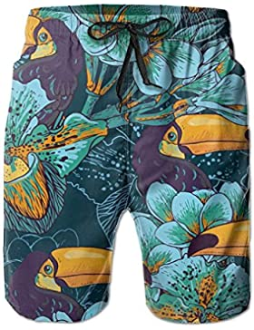Funny Caps Retro Flowers Toucan Men's/Boys Casual Quick-Drying Bath Suits Elastic Waist Beach Pants with Pockets