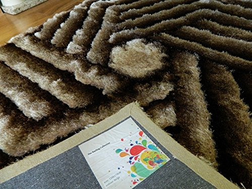New small - XX large thick silky hand carved luxurious bright and colourful shaggy soft area rug (coffee, 150x210cm (4'11