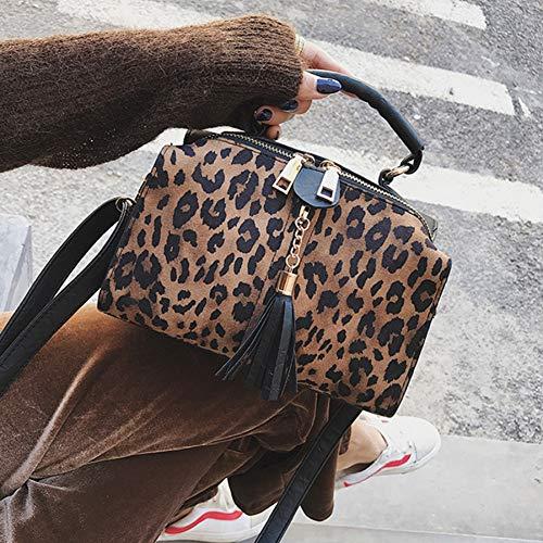 HKDUC Luxus Leopard Frauen Handtasche Quaste Reißverschluss Frauen Umhängetasche Mode Leopardenmuster Frauen Handtaschen Kleine Mädchen Crossbody Taschen Kleine Mädchen Leopard
