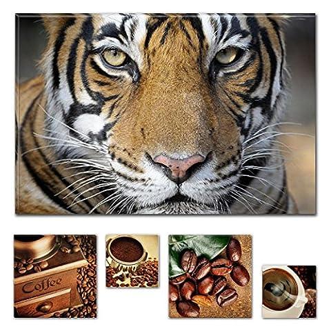Eco Light Art Wand Leinwand Bundle Schöne Bengal Tiger 80x 119,9cm für Home Décor und schöne Küche Kaffee Collage Set von 4Artwork modernen gerahmt