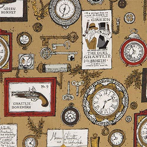 Alexander Henry Brauner Stoff mit Uhren
