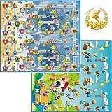 GLOBOLANDIA 92714 Tappeto Bambini Medio Spessore Ideale per Il Gattonamento 200X180x1 Double Face ( Lettere/Numeri ) - Novita'