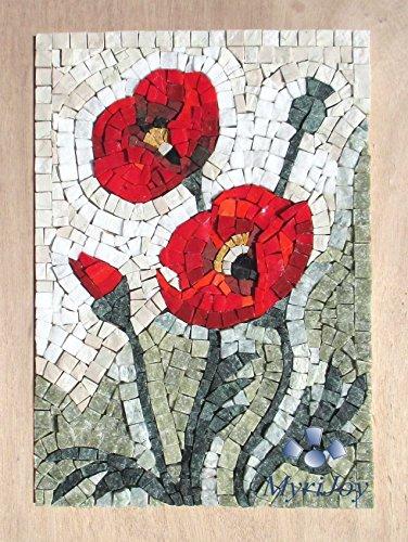 Mosaikbausatz DIY Wildflowers: Poppies (Wildblumen: Mohnblumen) - Jubiläumsgeschenke - Glasmalerei Mosaik Wanddeko – Rote Mohnblumenkunst - Mosaikfliesenbausatz
