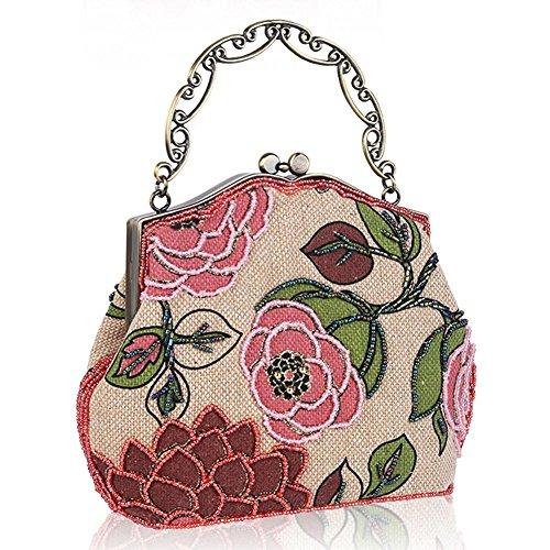 frauen vintage luxus perlen clutche handtasche abendtasche dinner party geldbörse. 23 x 22.5cm red