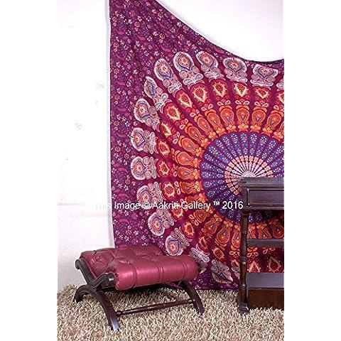 Tapestry regina Maroon Barmeri Beach Foglio indiano, da appendere alla parete Mandala Copriletto Dorm Decor Copriletto Arazzi 233,7x 208,3cm Aakriti Gallery - American Flag Tapestry