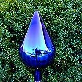 Naturholz-Schreinermeister XL Rosenkugel Tropfen Höhe 28cm Durchmesser 14cm Rosenkugeln Gartenkugel Handarbeit Stabiles Glas verspiegelt und Wetterfest (Blau)