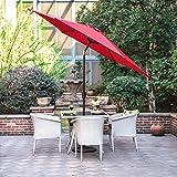 Gartenschirm mit Dreh-Kipp-Mechanismus Kurbelschirm Sonnenschutz UV-Schutz Sonnenschirm Ø 270CM, rund, Rot
