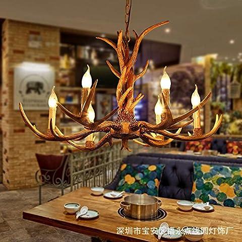 QWER La lumière des lustres au plafond suspendu Lampe Salon bar rétro Plateau Cafe Restaurant Hot Pot créatif en Japonais American Art Village 8 Tête Lustres