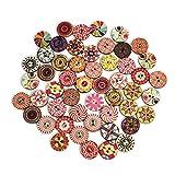 100/viel Flower Painting Bild rund 2Löcher Deko Holz Taste für Pullover Overcoat Apparel Nähen, DIY-Geschenk Muster Mix Nähen-Bulk Tasten zufällige Farbe 20mm