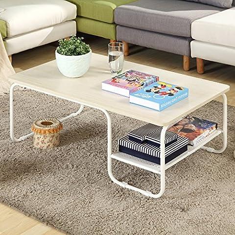 LANGRIA Modern Rectangular Side Tea Coffee Table Set with Lower Shelf, Max 308 lbs. /140kg Capacity,