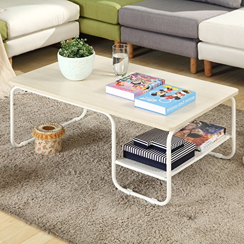 LANGRIA Modern Rectangular Side Tea Coffee Table Set with Lower Shelf, Max 308 lbs. /140kg Capacity, White