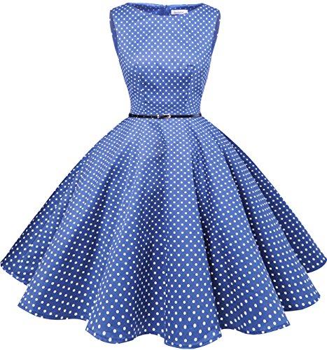 Bbonlinedress 50s Retro Schwingen Vintage Rockabilly kleid Faltenrock RoyalBlue White Dot (60er Damen Jahre Mode)