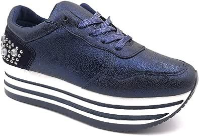 ANGKORLY - Scarpe Moda Sneaker Zeppe Street Donna Borchiati Perla Motivo a Strisce Tacco Zeppa Piattaforma 4.5 CM Tessuto