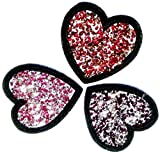 b2see Iron on Bügel Strass Glitzer Herz Aufnäher Patches Aufbügler Flicken Sticker Bügelbilder Applikation Set mit Strass 3 er Set Strass in rot, dunkelrot und pink Tönen