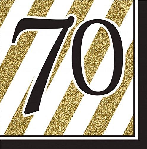 34 Teile Dekorations Set zum 70. Geburtstag oder Jubiläum – Party Deko in Schwarz & Gold - 2